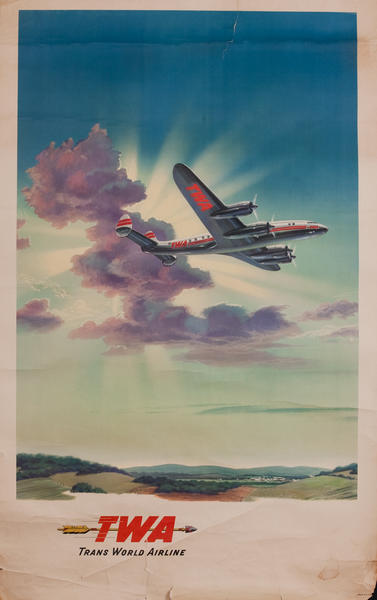 TWA Trans World Airlines Golden Arrrow, Constellation in the Clouds