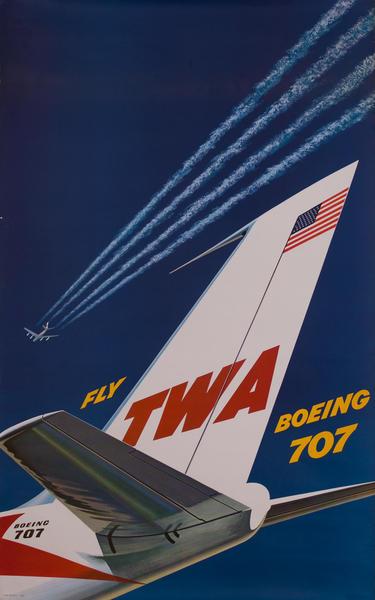 Fly TWA Via Boeing 707 Original Travel Poster