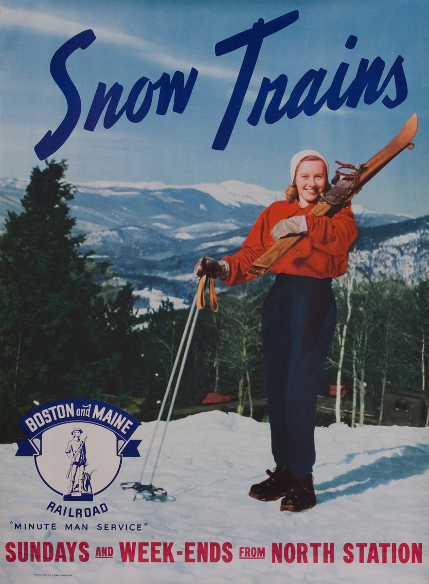 Boston and Maine Snow Trains, Minute Man Service, girl with skis over shoulder