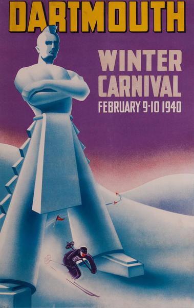 Dartmouth Winter Carnival Original American Ski Poster, 1940
