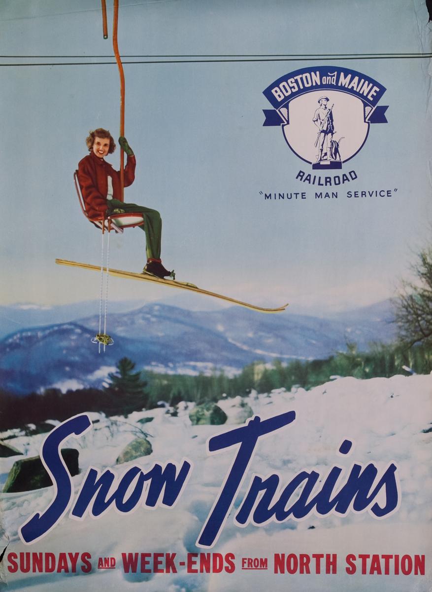 Boston and Maine Snow Trains, Minute Man Service, girl on ski lift