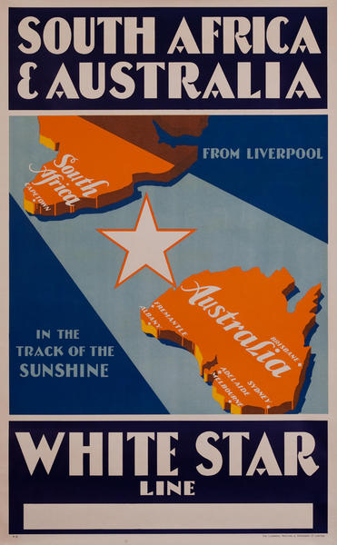 White Star Line South Africa and Australia, In the Track of the Sunshine, from Liverpool