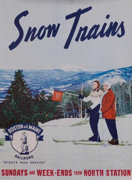 Boston and Maine Snow Trains, Minute Man Service, couple with flag