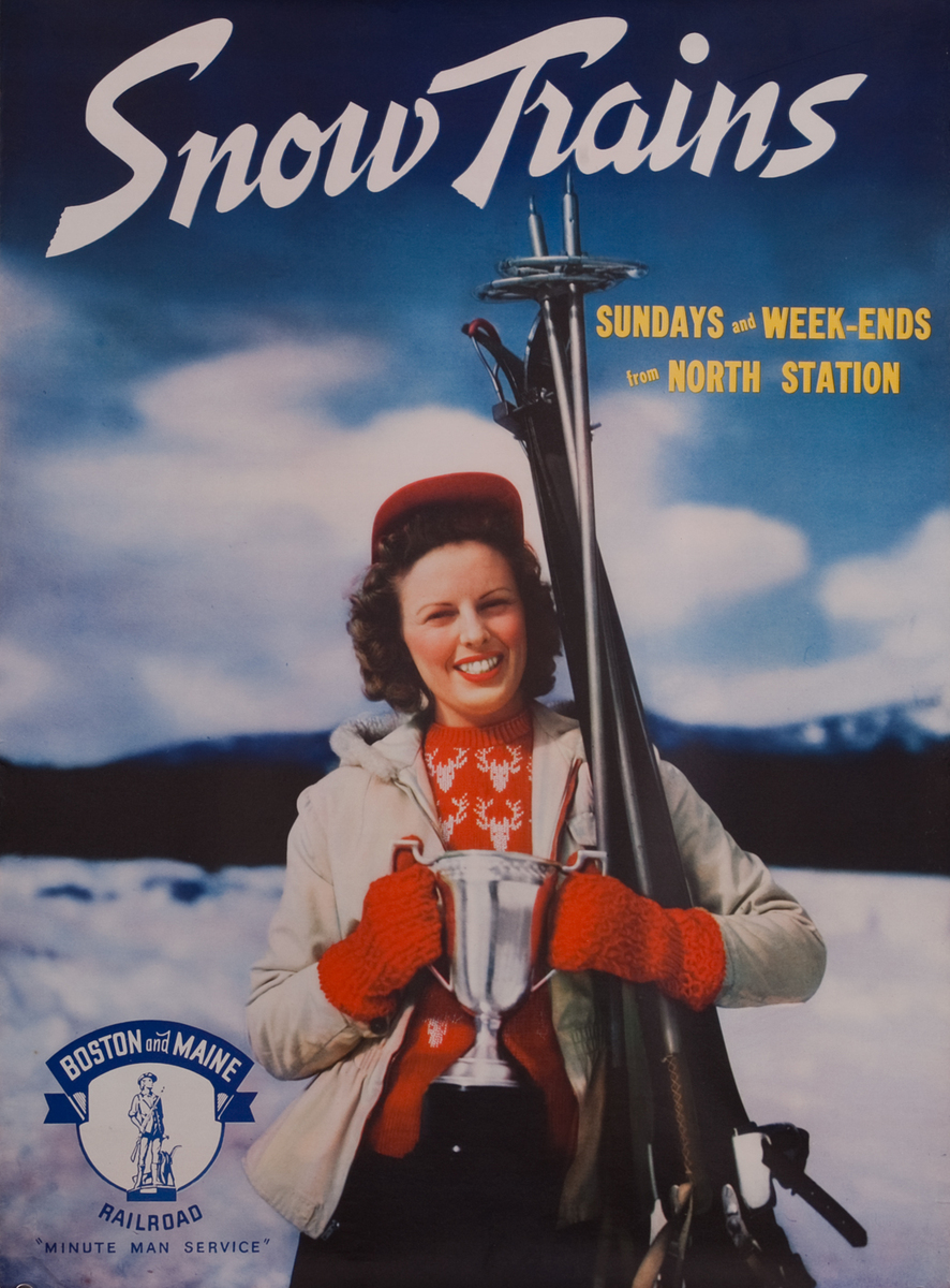 Boston and Maine Snow Trains, Minute Man Service, girl with trophy