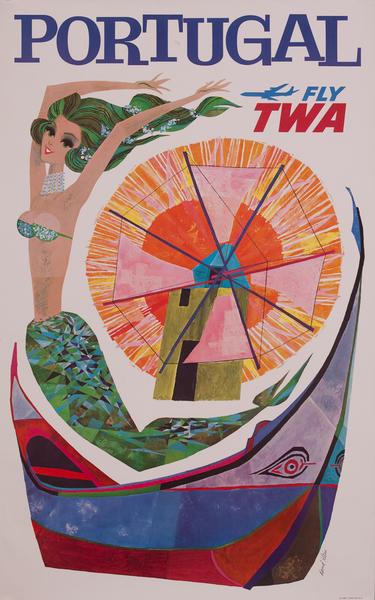 Portugal, Trans World Airlines TWA Travel Poster, mermaid windmill