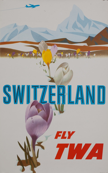 Switzerland Fly TWA, Trans World Airlines Travel Poster, jet