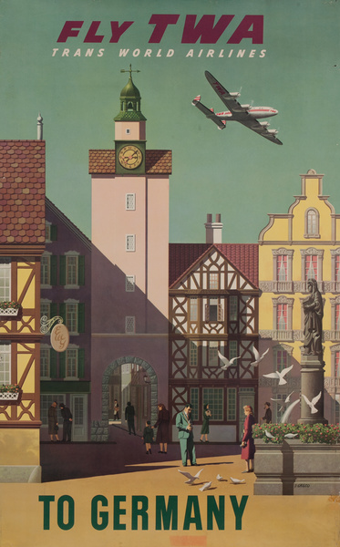Fly TWA Trans World Airlines to Germany, town scene