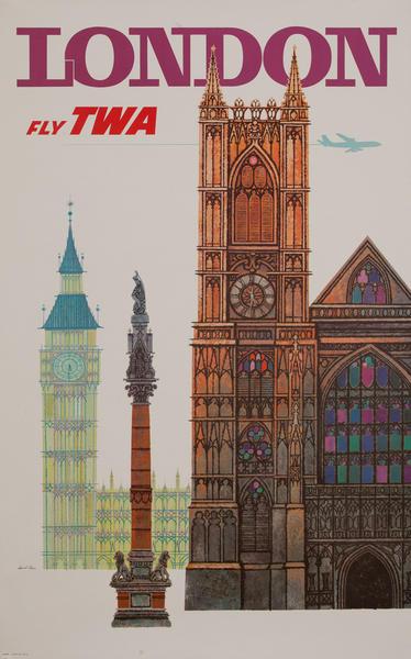 London Fly TWA Original Vintage Travel Poster