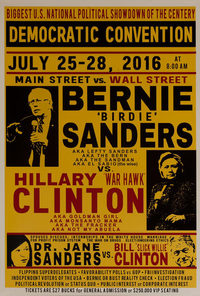 Democratic Convention - Bernie Sanders Vs Hillary Clinton, 2016 Presidential Campaign Poster