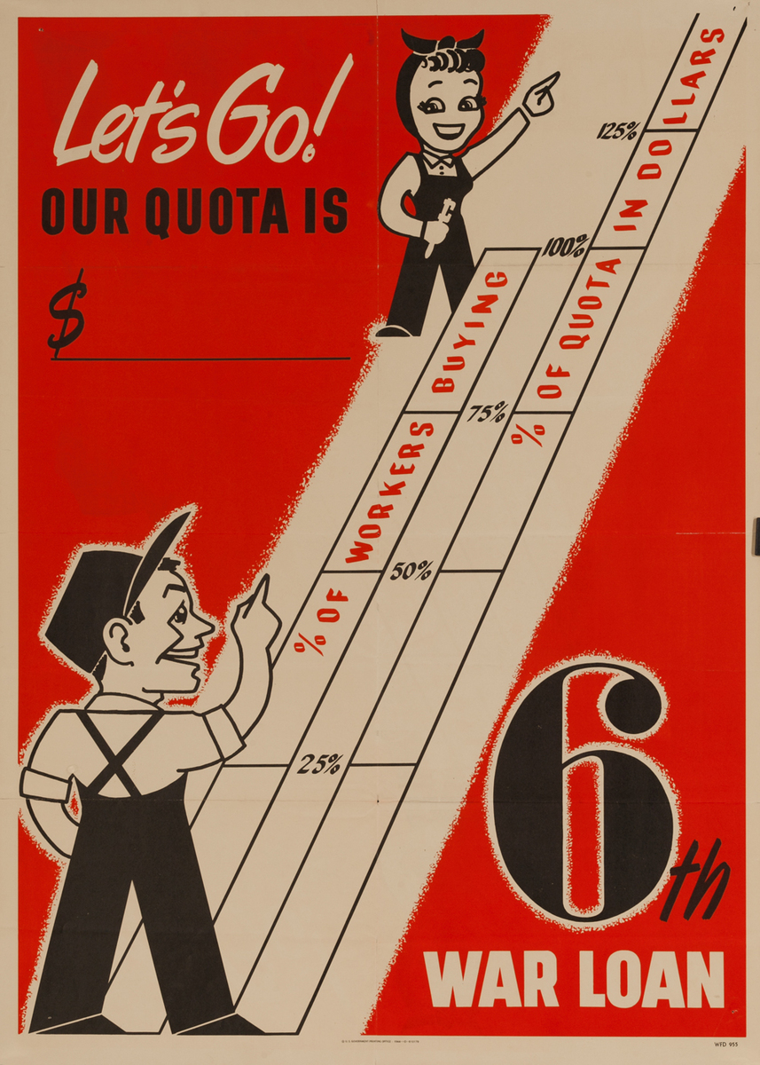 Let's Go Our Quote is , 6th War Loan WWII Poster