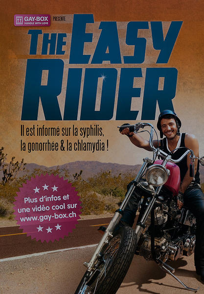 The Easy Rider, Il est informe sur la syphilis, la gonorrhee & la chlamydia -  Swiss AIDs HIV Public Health Poster