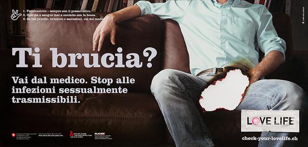 Ti brucia? - Swiss AIDs HIV Public Health Poster