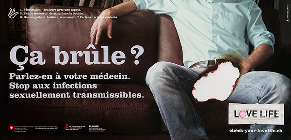 Ca brule? Swiss AIDs HIV Public Health Poster
