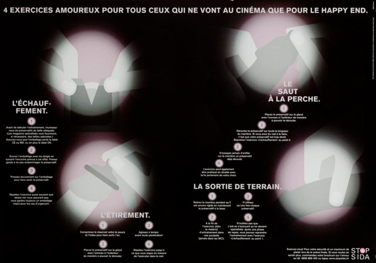 4 excercices amoureux pour tous ceux qui ne vont au cinema que pour le happy end - Swiss AIDs HIV Public Health Poster