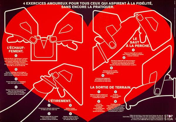 4 Excercices Amoureux Pour Tus Ceux Qui Aspirent A La Fidelite Sans Encorre La Pratiquer - Swiss AIDs HIV Public Health Poster