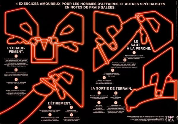 4 Exercices Amoureux Pour Les Hommes D'Affaires et Autres Specialistes en Notes de Frais Salees - Swiss AIDs HIV Public Health Poster