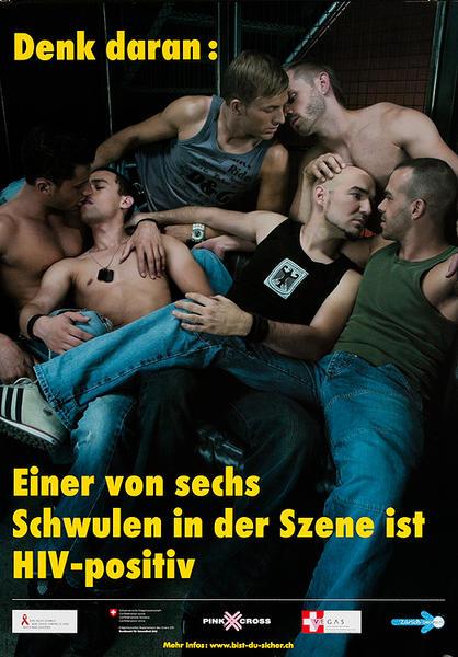 Denk daran: Einer von sechs Schwulen in der Szene ist HIV-positiv - Swiss AIDs HIV Public Health Poster
