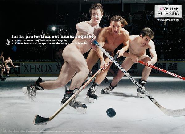 Ici la protection est aussi requise  Icce Hockey- Swiss AIDs HIV Public Health Poster