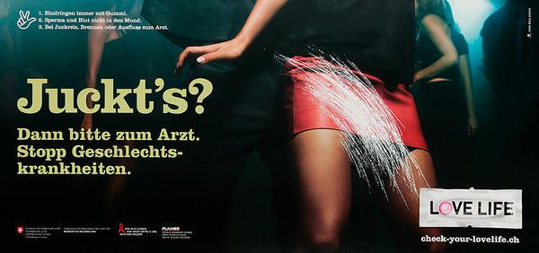 Juckt's Dann bitte zum Arzt. Stopp Geschlechts-krankheiten. - Swiss AIDs HIV Public Health Poster