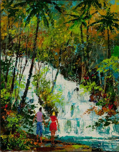 Original Jack Laycox Delta Airlines Acrylic Painting, Jamaica