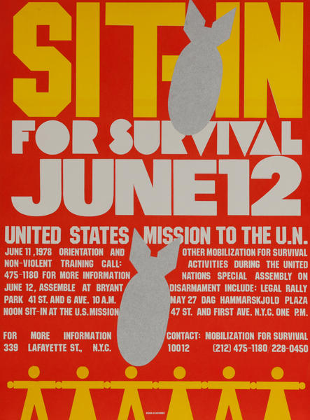 Sit-in For Survival, anti-war Protest Poster