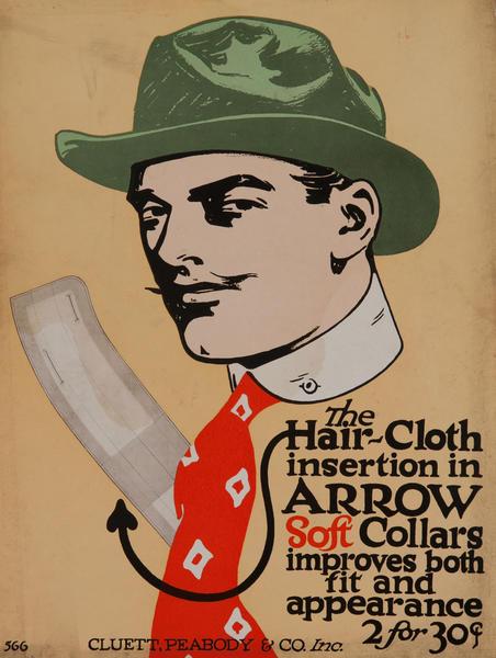 Arrow Soft Collars, Advertising Card, green hat