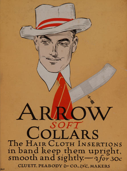 Arrow Soft Collars, Advertising Card, white hat