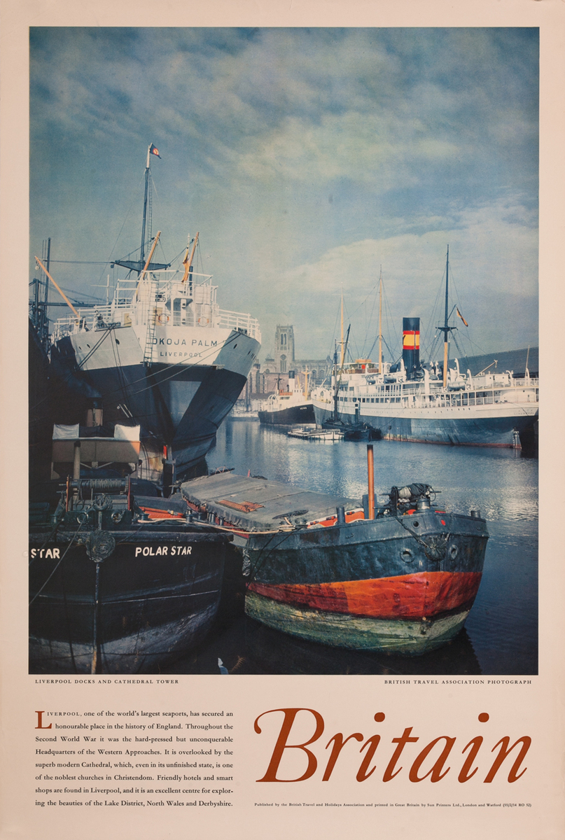 Britain, Liverrpool Docks and Cathedrral Tower