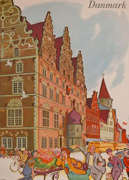 Danmark Travel Poster, town scene
