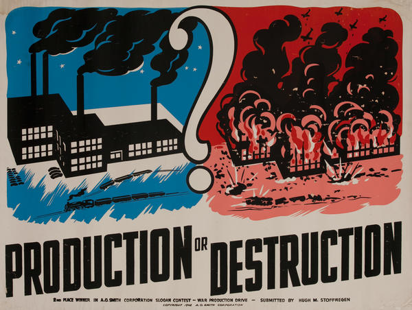 Production or Destruction A O Smith Corporation WWII Poster