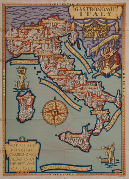 Gastronomic Italy, Illustrated Poster Map