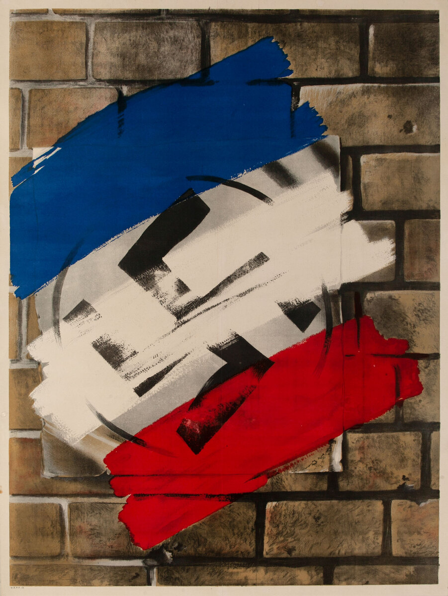 Liberated France anti-Nazi WWII Poster, painted over Swastika