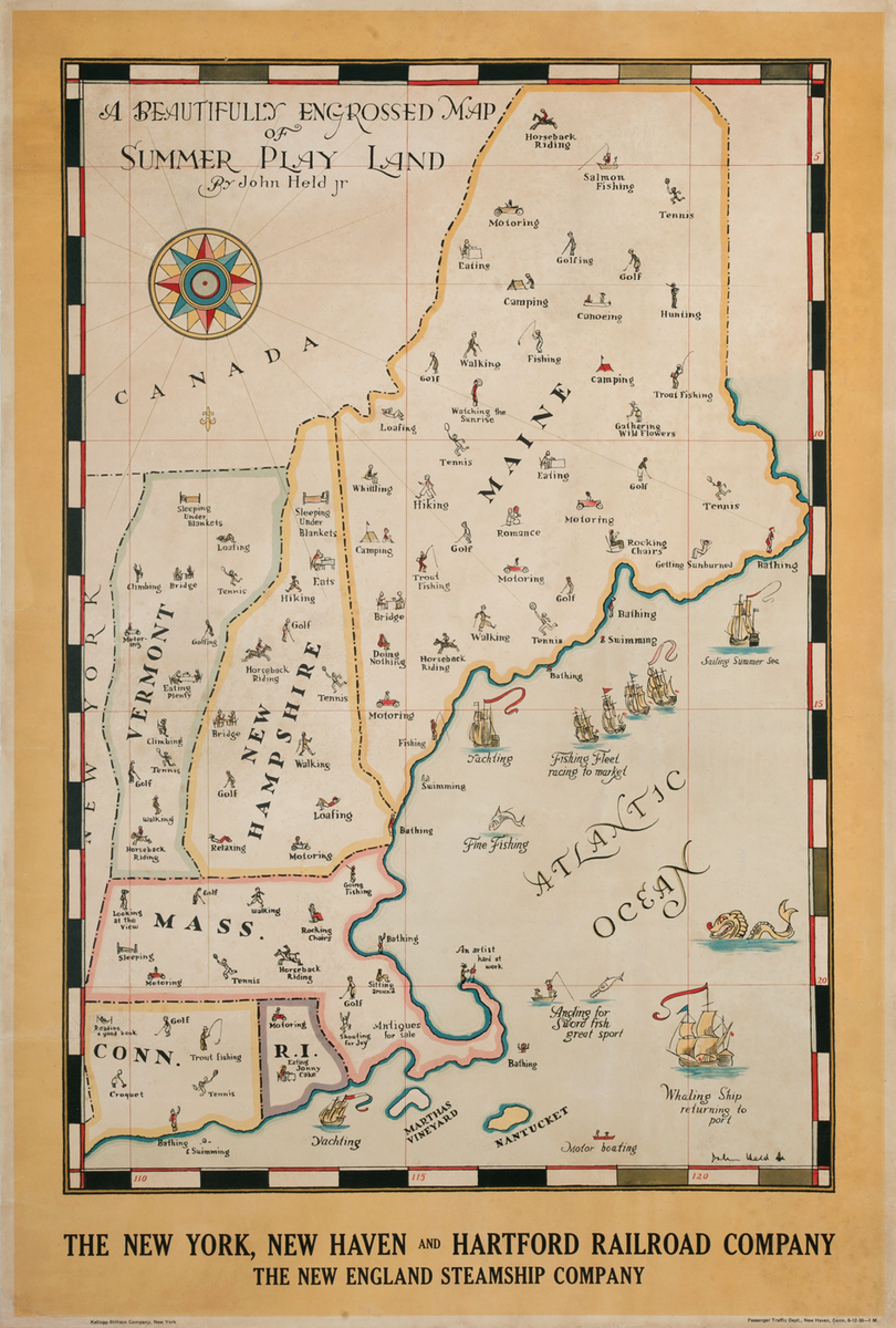 A Beautifully  Engrossed Map Of Summer Play Land - The New York, New Haven & Hartford Railroad Company