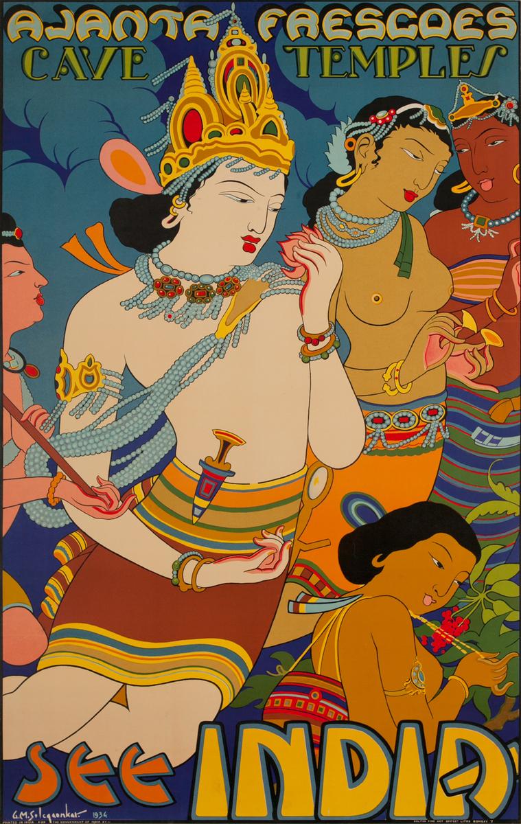 See India, Ajanta Frescoes Cave Temples