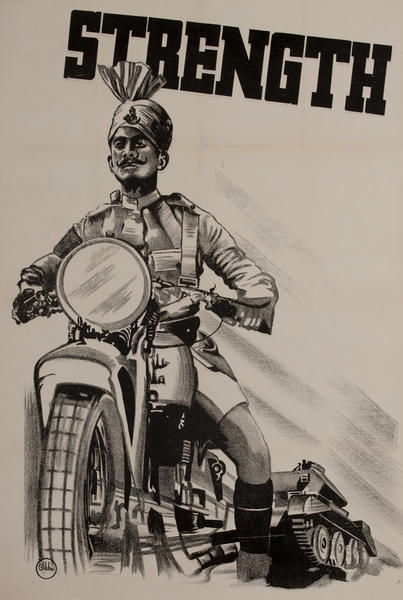STRENGTH, WWII Indian Recruiting Poster, Motorcycle
