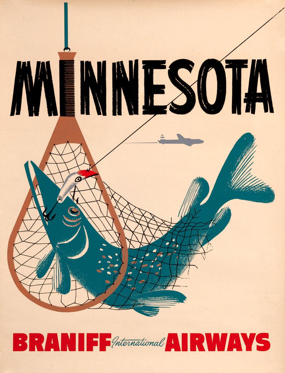 Braniff International Airways, Minnesota Travel Poster, fishing