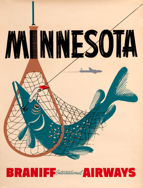 Braniff International Airways, Minnesota Travel Poster, fishing