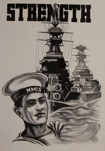 STRENGTH, WWII Indian Recruiting Poster, Battleship