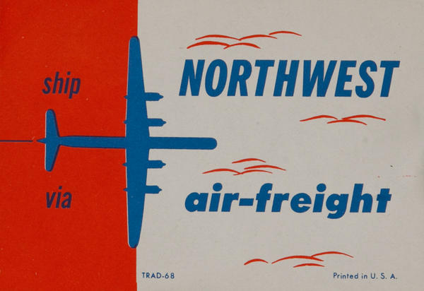 Ship via Northwest air-freight Luggage Label