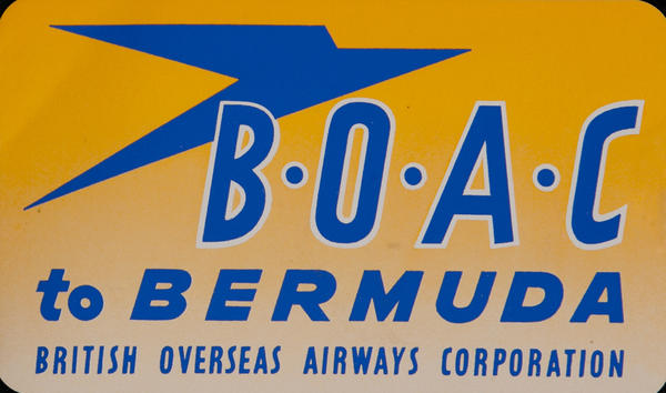 BOAC to Bermuda Luggage Label