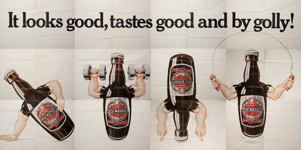 It looks good, tastes good and by golly! Mackeson Beer Billboard