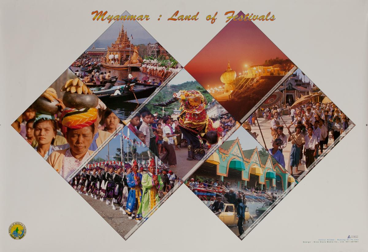 Myanmar Travel Poster - Land of Festivals