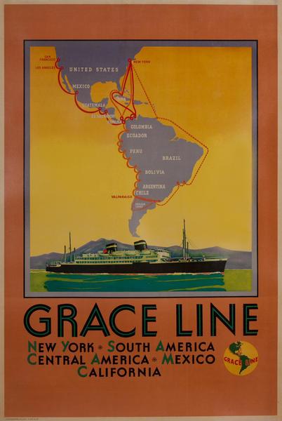 Grace Lines, New York, South America, Central America, Mexico, California