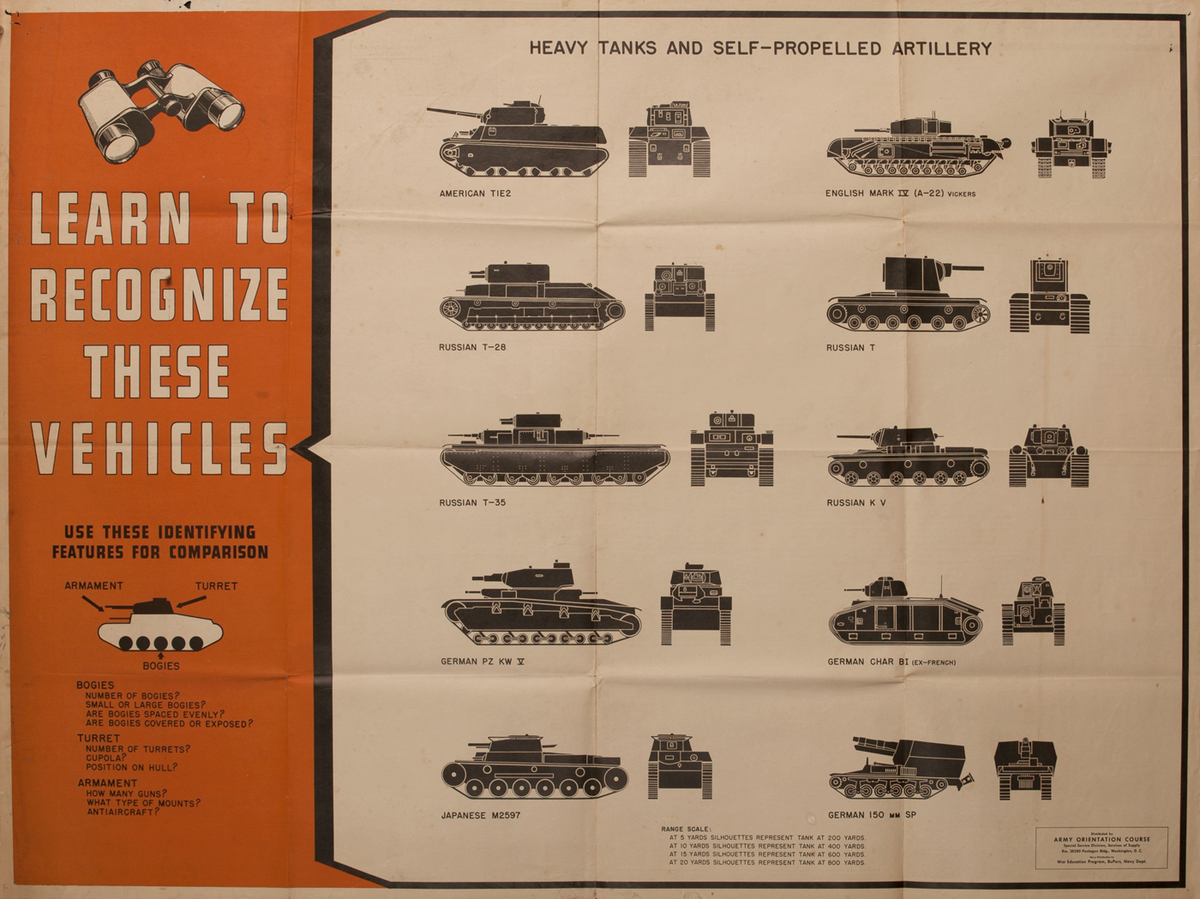 WWII Newsmap Learn to Recognize these Vehicles Heavy Tanks and Self Propelled Artillery