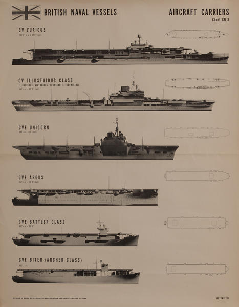 British Naval Vessels Aircraft Carriers Chart Bn 3