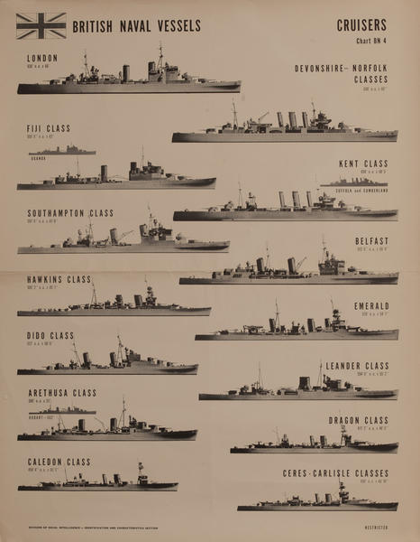 British Naval Vessels Cruisers Chart Bn 4