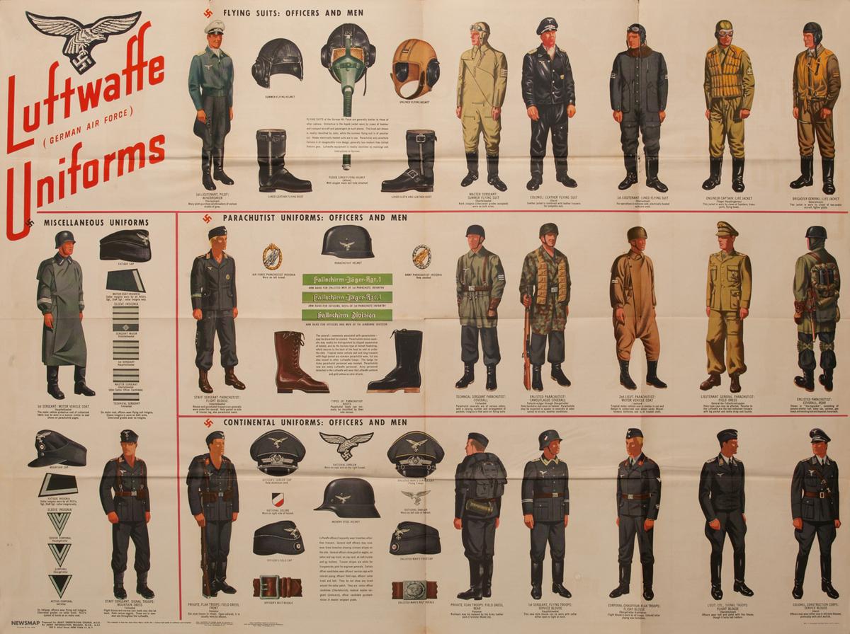 WWII Newsmap Luftwaffe (German Air Force) Uniforms