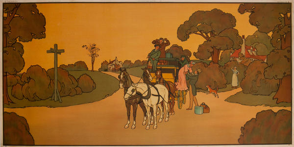 Coaching Days - British Decorative Panel, woman getting down from carriage