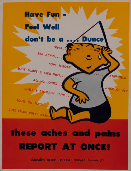 Have fun - Feel Well Don't be a Dunce, Mutual Insurance Health Poster