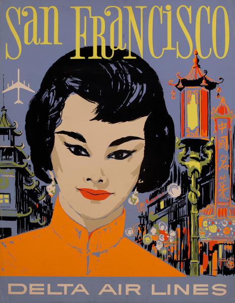 Delta Airlines Travel Poster San Francisco Silkscreen